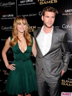 Jennifer Lawrence and Liam Hemsworth at the Cinema Society & Calvin Klein Collection screening of 'The Hunger Games' at SVA Theatre