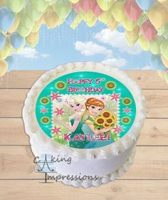 Frozen Fever Pink Flowers Edible Image Cake Topper [ROUND]