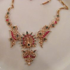 Antique High Karat Gold Ruby Emerald Pearl Necklace & Earrings Circa 1900