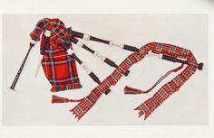 Coloured print of a set of Highland bagpipes mounted with silver and ivory and having tartan ribbons and tassels