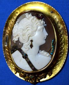 Large Antique Victorian Shell Cameo Diana Godess Archer 14k Gold Brooch Jeweled   eBay