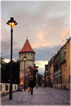 Strada Cetatii - The Fortress Street in Sibiu city.