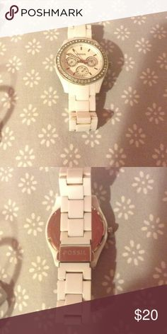 White Fossil watch Just need a watch battery. Fossil Accessories Watches