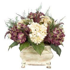 artificial flower arrangements centerpieces   Purple and Cream Hydrangea Floral Arrangement