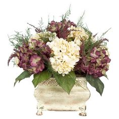artificial flower arrangements centerpieces | Purple and Cream Hydrangea Floral Arrangement