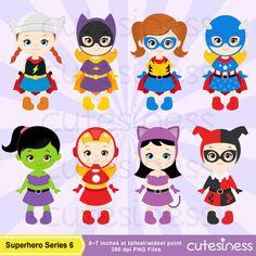Superhero Digital Clipart Superhero Clipart by Cutesiness on Etsy