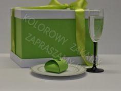 Ślubne pudełko na koperty zielone