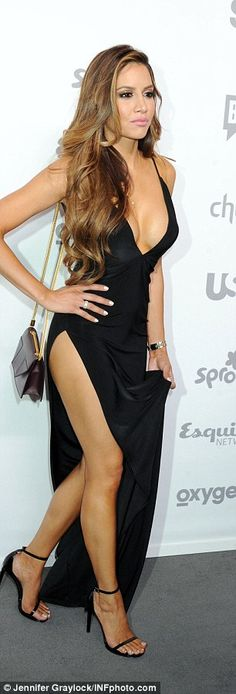Thigh's the limit: Asifa not only had her chest on full display but also highlighted her entire left leg with a thigh-high slit on the side of her plunging gown