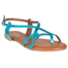 Bamboo Womens Morris Openwork Patent Sandals Turquoise 6 -- Check out this great product.