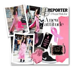 """""""#I Wear Pink For - A New Attitude"""" by nikkisg ❤ liked on Polyvore featuring Narciso Rodriguez, Lanvin, Casetify, Bobbi Brown Cosmetics, NIKE and IWearPinkFor"""