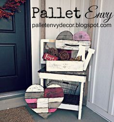 Vintage Look Pallet Hearts help decorate this  . Pallet Envy Decor .