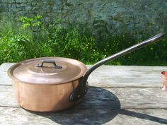 Vintage French Copper Sauteuse Pan with Lid by NormandyKitchen, €45.00