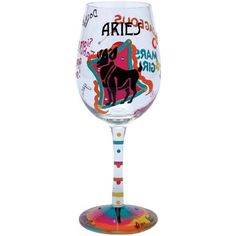 $21.42-$25.99 The Aries wine glass from the Lolita's Love My Sign Collection from Santa Barbara Design has a unique recipe hand painted on the bottom of each glass. Original Lolita Yancey design on a 15-ounce wine glass. A great gift for the wine lover, this popular new shape for wine glasses is appropriate for either red or white wine and is the one widely used in California winery tasting room ...