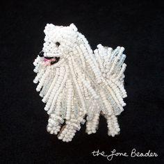 Cuentas ESKIE American Eskimo dog pin colgante arte joyas