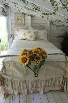 romantic fairytale cottage bedroom / ivy & sunflowers / home decor decorating ideas