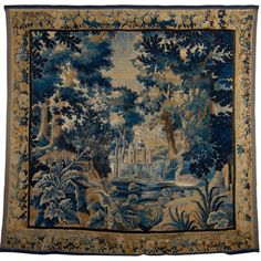 18th Century French Aubusson Tapestry Depicting a Castle | From a unique collection of antique and modern tapestries at http://www.1stdibs.com/furniture/wall-decorations/tapestry/