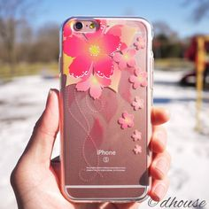MADE IN JAPAN Soft Clear Case Retro Flowers Red for iPhone 6 / 6s