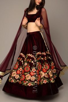 A pretty brown velvet lehenga priced under 10k #Frugal2Fab