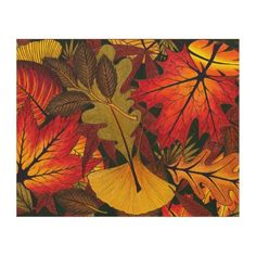 Autumn / Fall Leaves - Wood Wall Art  Bring the warm colors of fall / autumn to your home (holidays gifts and presents). The design features brightly-colored red/maroon, orange, brown, and tan leaves from a variety of trees. The underlying work is hand-drawn with passion and inspired by nature. Find more works by this artist at: www.zazzle.com/b3gallery