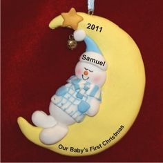 Sweet Baby Boy Asleep, Cradled by the Moon - Personalized First Christmas Ornament