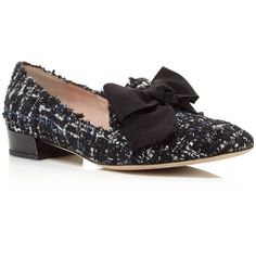 kate spade new york Gino Tweed Bow Loafers ($295) ❤ liked on Polyvore featuring shoes, loafers, blue, kate spade, bow loafers, tweed shoes, bow shoes and kate spade loafers