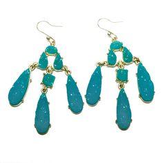 blue/turquoise druzy chandelier earrings