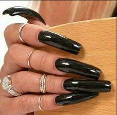 Perfect Nails, Gorgeous Nails, Pretty Nails, Sexy Nails, Hot Nails, Nail Swag, Long Black Nails, Kylie Nails, Long Square Nails