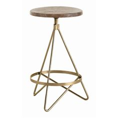 Wyndham Swivel Counter Stool H: 25in W: 16in D: 16in Counter stool with tube shaped triangular iron legs in vintage brass finish with round wooden swivel seat in distressed wax finish.