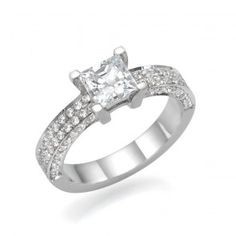 259bb742a 14K White Gold Ring Sidestones www.brillianteers.com #engagementrings Swarovski  Engagement Rings,