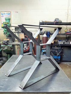 "Modern, Dining Table ""X"" Legs, Coffee Table Metal Legs, Industrial Legs, 3"" Steel Flat Bar, Raw Steel Legs,"