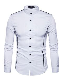 White Shirt Men 2017 Luxury Brand New Henley Shirt Casual Cotton Mens Dress Shirts Long Sleeve Slim Fit Male Shirt Chemise Homme. Nigerian Men Fashion, Indian Men Fashion, African Dresses Men, African Shirts, Mens Shirt Pattern, Stylish Shirts, Slim Fit Casual Shirts, Mens Kurta Designs, Mens Designer Shirts