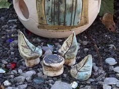 Gartendekoration - 4er Set Sitzgarnitur für Elfen Keramik Unikat Neu - ein Designerstück von elfenfluestern bei DaWanda