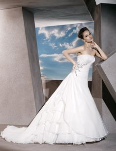 Strapless A-line organza bridal gown