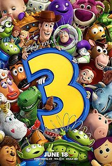 Toy Story 3 is a 2010 American 3D computer-animated comedy-adventure film.  The plot focuses on the toys Woody, Buzz Lightyear, and their friends dealing with an uncertain future as their owner, Andy, prepares to leave for college.