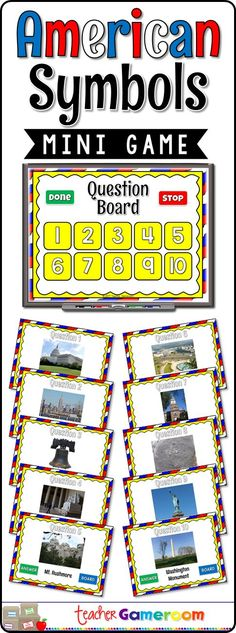 Engage students with this fun, interactive social studies game. In this mini powerpoint game, students identify common American monuments and symbols. Famous places include the Statue of Liberty, the Capitol Building, Mt. Rushmore, and more. There are 10 questions in all. #education #teacher #iteachtoo #teacherspayteachers