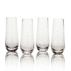 Set of 4 Dots Gold Stemless Flute Glasses