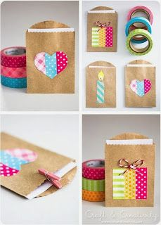 Simple party favor gift bags made with washi tape! Perfect for DIY wedding, birthday, graduation, and more. Just use little brown paper bags and let the washi tape be your fun design. Washi Tape Crafts, Paper Crafts, Washi Tapes, Fabric Crafts, Diy And Crafts Sewing, Diy Crafts, Small Gift Bags, Pretty Packaging, Gift Packaging