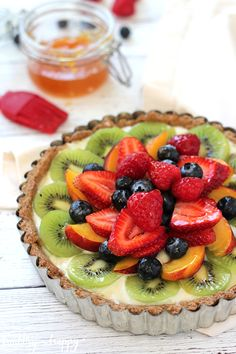 Fresh Fruit Tart with Lemon Cream {Vegan, refined sugar free, healthy} - Healthy 'n Happy