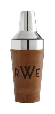 Leather Wrapped Cocktail Shaker with Monogram.
