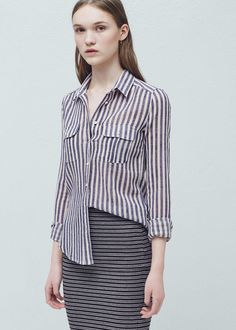 Stripes cotton shirt | MANGO