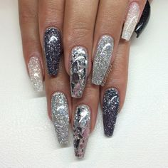 Dark Gray Glitter + Silver Glitter + Diamond silverflakes (Mylar glitter flake) Shattered Glass Long Coffin Nails. #nail #nailart