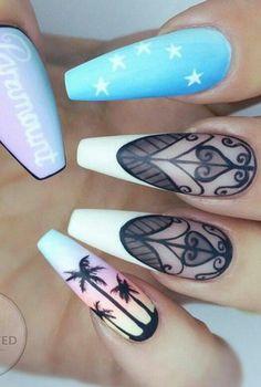 Palm tree nails design nailart @getbuffednails