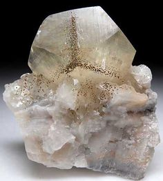 Pyrite on Calcite from Xianghualing Mine, Chenzhou, Hunan Prov., China [db_pics/pics/a811a.jpg]