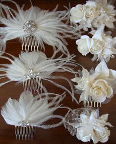 Feather comb could be really cute and match my dress. Flower Girl Hairstyles, Feathered Hairstyles, Hat Hairstyles, Feather Crafts, Making Hair Bows, Bride Bouquets, Fascinator, Headpiece, Bridal Accessories