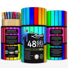 Gel Ink Pens - 48 Assorted Colors, Eco Tube, 45% More Ink - Extended Color Selection