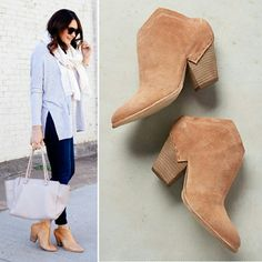 "New dolce vita haku mules booties blush pink suede Sold out everywhere! Brand new in box haku suede leather mule ankle boots in blush by dolce vita. Size 8. Blogger favorite! DV anthropologie exclusive caramel tan taupe pink color. No trades. Price is FIRM. Runs true to size to 1/2 size up A modern stacked-heel asymmetrical open heel bootie with a Western vibe. Slip on step in style shoes. Topstitched angles & exposed-staple overlay at back. 3"" heel. Leather upper, synthetic textile lining…"
