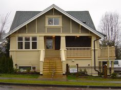 arts and crafts bungalow image search results Craftsman Exterior Colors, Craftsman Style Homes, Craftsman House Plans, Wooden Cottage, Arts And Crafts House, House Tours, Bungalow, Outdoor Structures, House Styles