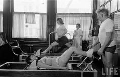 Pilates exercise on reformer. Life magazine archives, Feb 1951 (Who ever said Pilates was a fad? Pilates Body, Pilates Barre, Pilates Studio, Pilates Reformer, Pilates Workout, Exercise, Workouts, Joseph Pilates, Pilates Training