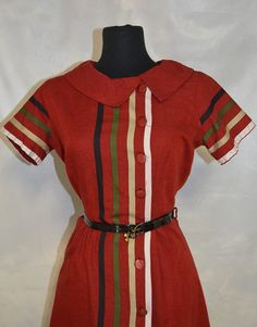 50s Kay Whitney Day Dress. Cranberry Red Flecked by FlanneryCrane