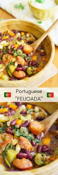 """This is a staple plate in Portugal. This is the type of food that """"avós"""" --- grandmas --- of all Portugal cook for a regular weeknight meal. A Portuguese feijoada is the most comforting meal that you can ever make with cheap and easy to find ingredients. World Recipes, New Recipes, Soup Recipes, Salad Recipes, Vegetarian Recipes, Dinner Recipes, Cooking Recipes, Favorite Recipes, Healthy Recipes"""